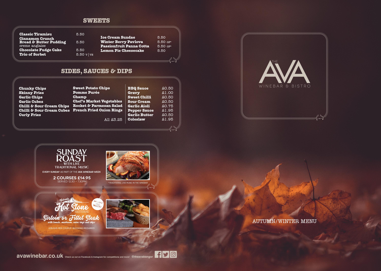 Food Menu For The Ava Winebar Bangor The Ava Winebar And